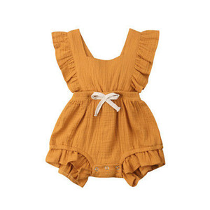 Wholesale baby ruffle clothing resale online - 8 Colors Newborn Infant Back cross Bow Jumpsuits Baby Ruffle Romper Solid Color Summer fashion Boutique kids Climbing clothes C6108