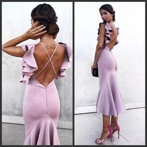 Wholesale 2019 New Cheap Mermaid Prom Dresses Tea Length Sexy Criss Cross Back Cocktail Party Evening Gowns