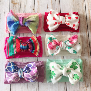 Wholesale 8 color infant kids big bow tie headbands Flower Nylon Headwraps children cute Independent Day hair bands baby hair accessories