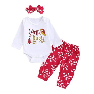 Wholesale Newborn Baby Christmas suit Romper Geometric long sleeve Pants Santa Baby Outfits my first christmas girl boys suit bebek giyim