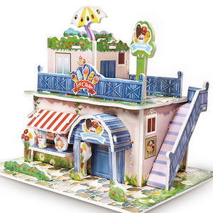 Wholesale 20Set D DIY Puzzle Castle Model House Assembling Paper Toy Kid Early Learning Construction Gift Children House Puzzle AIJILE