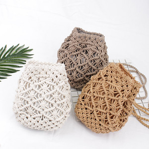 Wholesale Vintage Woven backpack cotton rope bucket small straw bag vacation travel mini fresh backpack hand-woven Handbags
