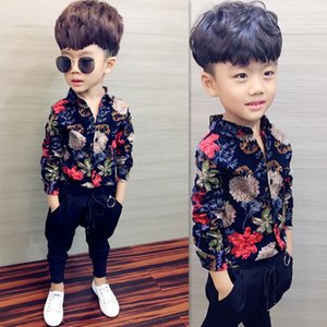 Boys shirt children's clothing new 2019 spring and autumn long-sleeved shirt cotton lattice sanded shirt printed baby clothes