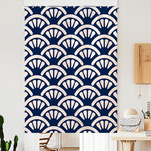 Wholesale Hot Oriental Blue White Japanese Noren Kitchen Curtain Japan Style Fish Cherry Blossoms Living Room Linen Geometric Restaurant