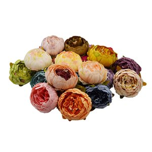 Wholesale 1 cm Big Artificial Peony Flower Heads DIY Silk Flower Head for Wedding Home Party Decoration Flowers Fake