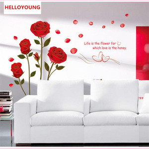Wholesale modern day living room decor resale online - Removable Phnom Penh Red Rose Flower DIY Three Dimensional Living Room Modern Bedroom Home Decor Decoration Wall Sticker