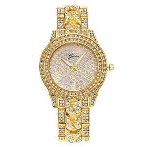 Wholesale Geneva Luxury Watch Diamond Women Crystal Watches Stainless Steel Strap Fashion Analog Quartz WristWatches Clock Gift Relogio Feminino