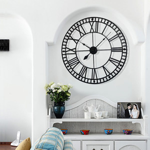 Wholesale European Roman Numeral Creative Retro Clock Wall Clock Modern Design Coffee Bar Mute Quartz Big Round on The Wall