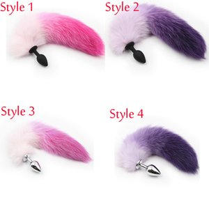 Wholesale Hot Sale Silicone Stainless Steel Butt Plug Purple Pink Fox Tail Anal Plug Sex Toys For Man Gays Women Adult Sex Products