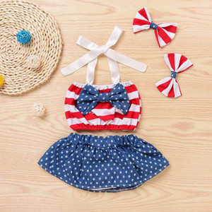 Wholesale Newborn Baby Girl Romper Jumpsuit Infant Baby th of July Star Patriotic Striped Bow Tops Shorts Headband Outfits