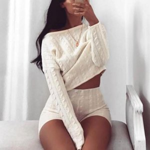 Wholesale Fall Winter New Arrival Fashion PC Women Ladies Solid Off Shoulder Knitted Warm Loungewear Short Crop Matching Suit Set X1