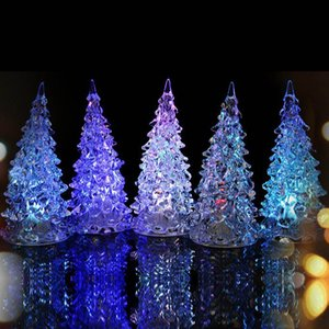 Wholesale Colorful Acrylic LED Christmas Tree Luminous Lights Home Decor Christmas Lamp Accessories Flashing Xmas Tree Desk Ornaments