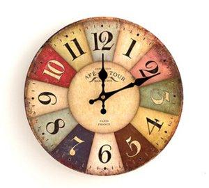 Quartz Wall Clocks Antique Style Clock European Style Fashion Creative Vintage Silent Wooden Clock Living Room Bedroom Decoration