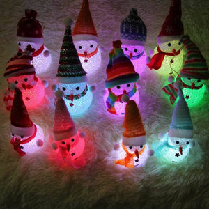 Wholesale Light Up Chrismas Ornament Small Light Tree Hanging Deco New Year Merry Christmas LED Snowman crystal jewelry Snowman Santa