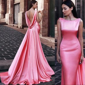 2019 New Sexy mermaid Evening Dresses Open Back with long train Formal Prom Gowns Customized Formal Dresses custom made Evening Wear on Sale