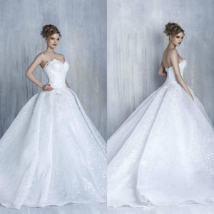 Tony Chaaya Ball Gown 2020 Wedding Dresses Appliques Sweetheart Lace Tulle Beads Bridal Gowns Princess Plus Size Bride Wedding Gown