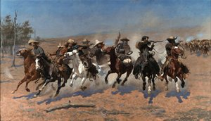 panel çizgi toptan satış-Açık Tuval Wall Art Canvas Resimler Boyama Timber Ev Dekorasyonu Handpainted HD Baskı Yağ için Frederic Remington bir Dash