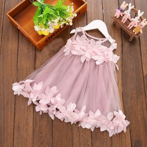 Wholesale Baby Girl Clothes Lace Flower Girl Dress Floral Toddler Princess Dresses Infant Party Gown Baby Shower Gift Summer Newborn Clothing YW3930