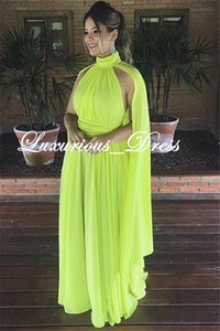 Wholesale Fashion High-Neck Cape Draped A-Line Chiffon Evening Dresses Green Arabian Vintage Party Gowns 2019 Elegant Plus Size Special Occasion Dress