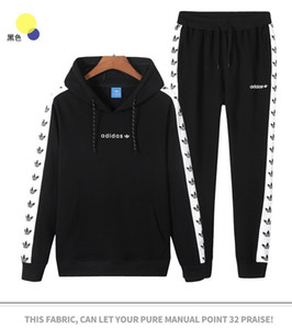 Wholesale Men s new string set hooded wool sweater long sleeved trousers sports casual fashion must have clover printing two piecefun