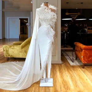 White Evening Dresses With Wrap Feather Beaded High Split One Shoulder Long Sleeve Lumbar Formal Party Gowns Custom Made Long Prom Dresses on Sale