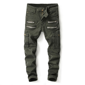 Wholesale 2019 Men s Army Green Slim Fit Ripped Elastic Pleated Jeans Fashion Multi Fake Zippers Pockets Patchwork Denim Pants Army green