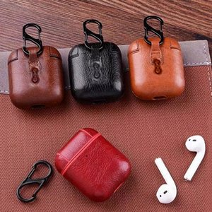 Wholesale Earphone protector for Airpods PU leather protective case With Hook dust proof High grade Yikacam