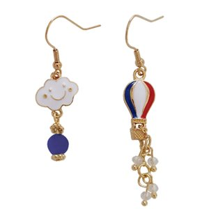 Wholesale Cute Hot Long Clip Earrings Crystals Beads Sweet Smile Cloud Earring wihout Piercing For Girls Air Balloon