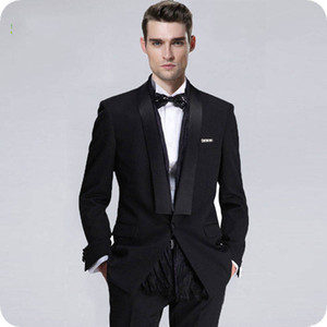 Wholesale plus size evening pant wear for sale - Group buy Black Groom Wear Wedding Tuxedos Men Suits Man Blazer Shawl Lapel Stage Smoking Jacket piece Evening Party Handsome Groomsmen Jacket Pants
