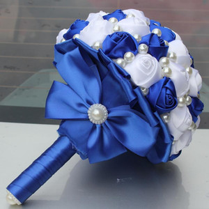 Wholesale Royal Blue White Color Pearls Beaded Artificial Bridal Wedding Bouquets Simple Durable Half Ball Bow Stitch Holding Flowers Fake Plant