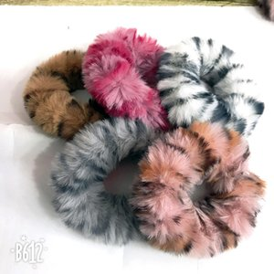 Women Plush Leopard Printed Headband Scrunchie Ponytail Holders Hair Scrunchie Elastic Hair Bands Hair Accesorios Headwear