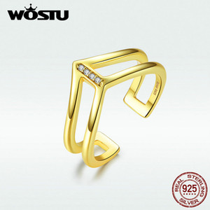 WOSTU Hot Sale Golden Color Airplane Shape Rings 100% Real 925 Sterling Silver Adjustable Rings For Women Jewelry Gift BNR040