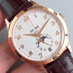 New KM Luxury Watch 5396R Watch Real Working Moonphase & Calendar Miyota 9015 Automatic 324S Movement 18K Rosegold Brown Leather Men Watches