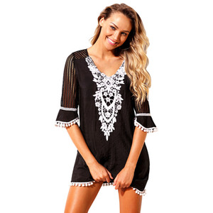 Wholesale Sexy Girl Plus Size Beach Tunic Tassel Hem Gauze Cover Up Mini Dress Women Swimwear Bathing Suits Robe Plage Beachwear