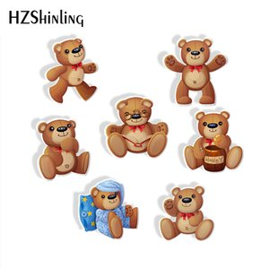 Wholesale Cartoon Toy Doll Cub Bear Acrylic Print Resin Brooch Naughty Bear Loves Honey Epoxy Acrylic Badge Brooch Pins Gifts for Kids