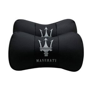 Wholesale 2Pcs Real Leather Car Seat Neck Cushion Pillow Car Headrest Fit For Maserati Car