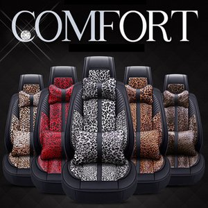 Wholesale Leopard Car Seat Cover Set Leather Car Mat Four Season All Clusive Cloth Art Car Interior Accessories Comfortable Breathable HHA393