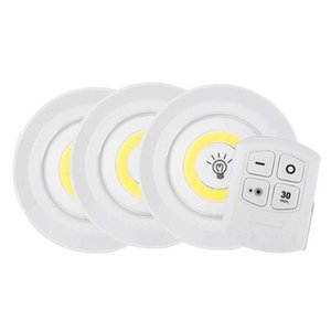 Wholesale Battery Operated Dimmable LED Under Cabinet Light COB LED Puck Lights Closets Lights with Remote Control for Wardrobe Bathroom