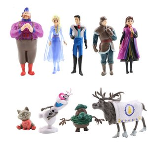 Wholesale 9pcs set new frozen story girl and boy interst cosplay and makeup pvc asCake decoration decoration handmade kids toy ornaments gift forchild