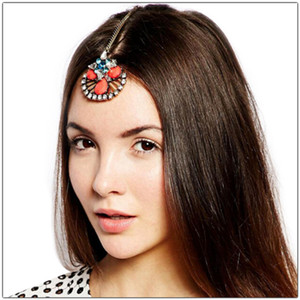 Wholesale Lovely Gold Chains Hair Pins New Hollow Flower Forehead Hair Clips Forehead Headpiece Crystal Wedding Indian Head Jewelry