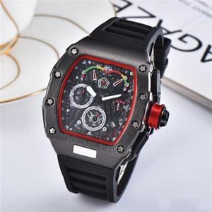 Wholesale Mens Full function quartz core Watches Quartz Watches personality barrel shape skeleton watch stainless steel Clock dial