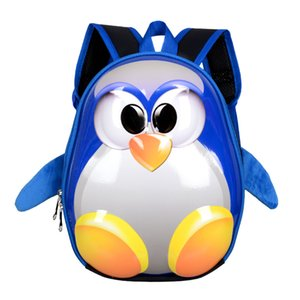Wholesale New D Three dimensional Hard shell Backpack children penguin schoolbag Lovely Cartoon Shoulder Bag Egg shell small schoolbag