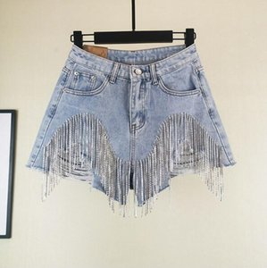 Wholesale Nail Diamond Tassel Denim Shorts Women Wid Leg Summer Heavy Tassels Thin Waist Jean Shorts OOA7013
