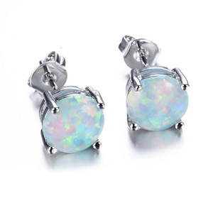 Wholesale Trendy Small Round White Blue Fire Opal Stud Earrings For Women Wedding Party Charms Jewelry Pair Girls Cute Earrings L3N600