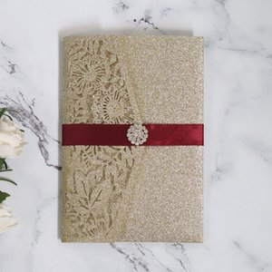 Gold Glitter Wedding Invitation Cards Hollow Elegant unique wedding invitations card 5PCS Set Greeting card Wholesale