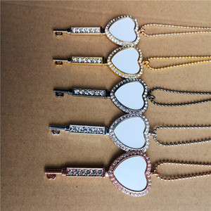 Wholesale pendant blank heart for sale - Group buy sublimation blank heart key necklaces pendants with drill necklace pendant hot tranfer printing consumable factory price