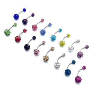 Wholesale Europe and America set diamond navel nail crystal ball navel ring disco ball mm navel button body piercing
