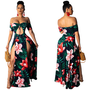 Wholesale Summer Dress Women Beach Print Off Shoulder Slash Neck Short Sleeve Cut Out High Side Split Maxi Sexy Party Club Dresses