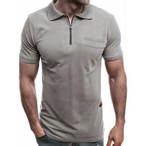Wholesale Summer Solid Color Men T Shirt Slim Fit Turn Down Collar Short Sleeve Zipper T Shirt Top