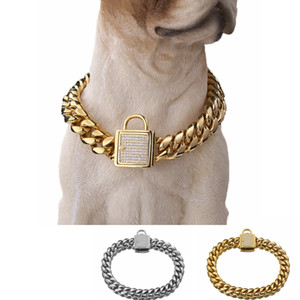 ingrosso collari per cani forti-Brand New mm Dogs Training Choke Collari a catena per cani di grandi dimensioni Pitbull Bulldog Forte argento oro in acciaio inox antiscivolo collare per cani